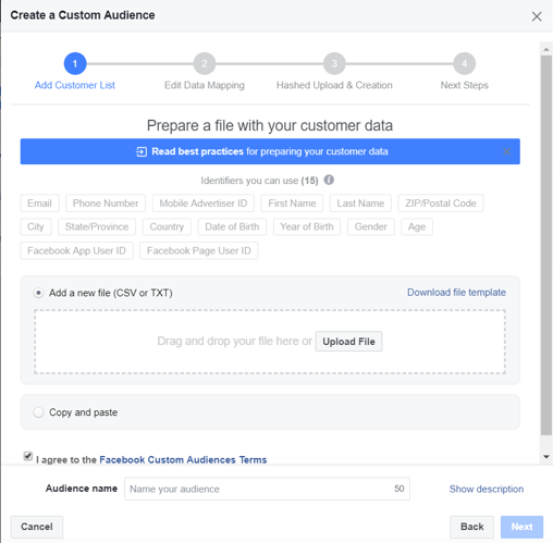 Continuing the custom audience creation process on Facebook Ads Platform