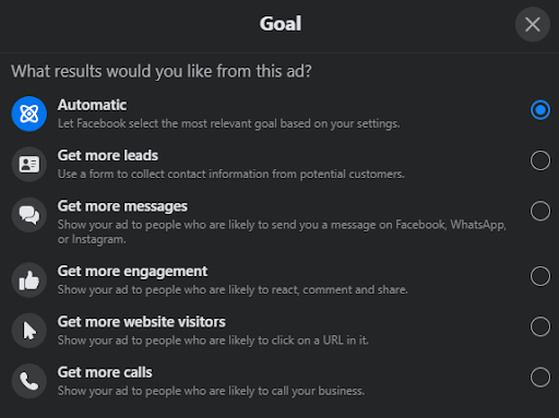 How to change Facebook Boost goal