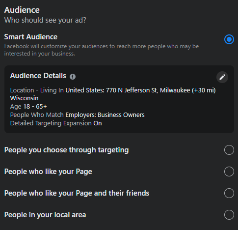 How to change Facebook audience when boosting