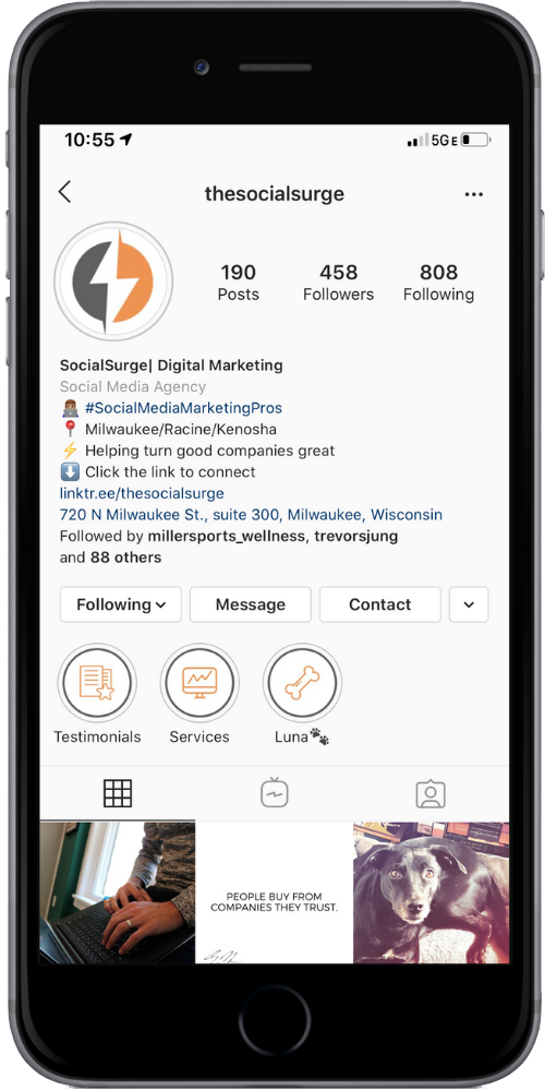 Image of our SocialSurge Instagram to show social media management services