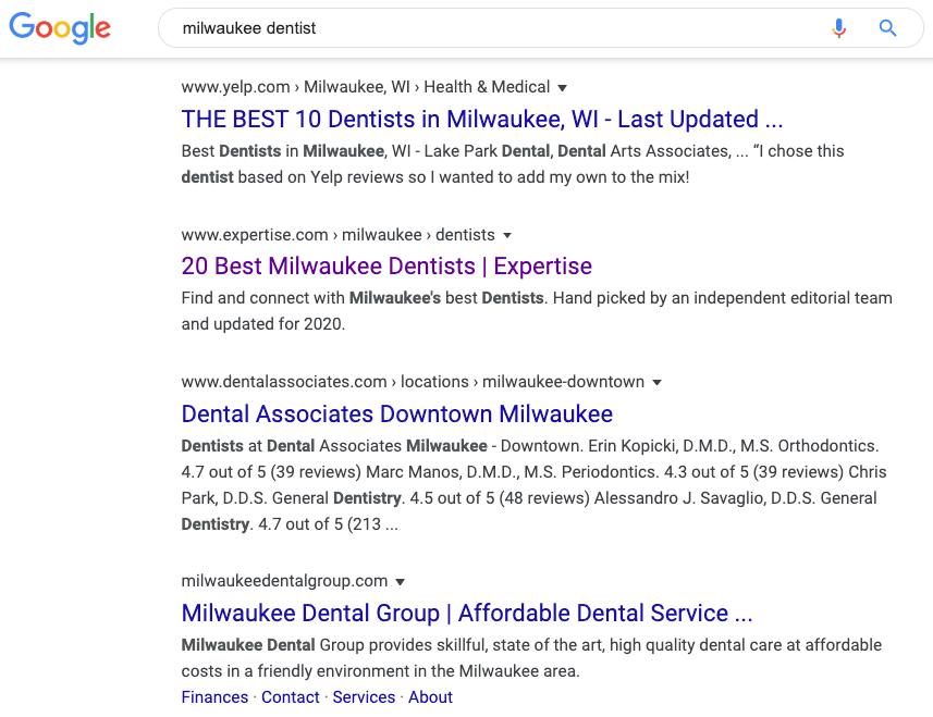 Milwaukee Dentist SERPs