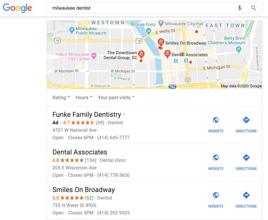 Milwaukee dentist Google My Business listings