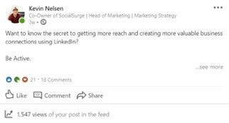 A post with good reach on a personal LinkedIn page