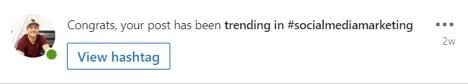 Trending on a LinkedIn Account using a hashtag