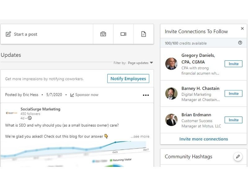 Hack #3 - Invite LinkedIn Connection to like business page