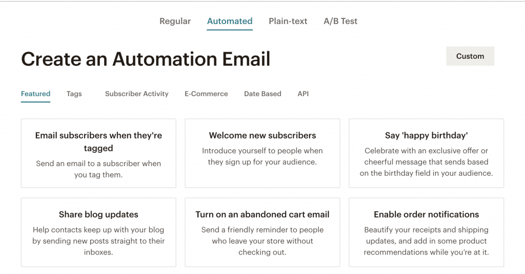 MailChimp Email Automation Screenshot