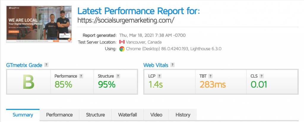 An SEO performance report from GTmetrix.com