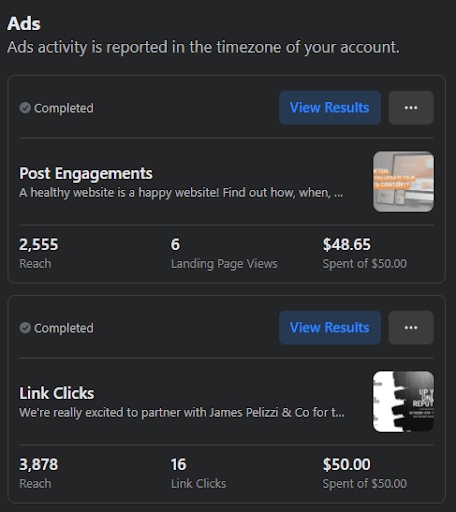 Boosting a Facebook post give you easy to read analytics