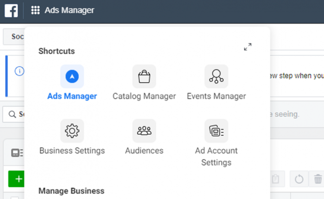 Click to go to Facebook Ads Manager