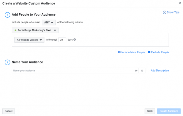 Adding to and naming your Facebook audience